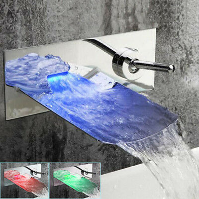 Wall Mounted LED Waterfall Chrome Bathroom Basin Mixer Taps Vanity Sink Faucet