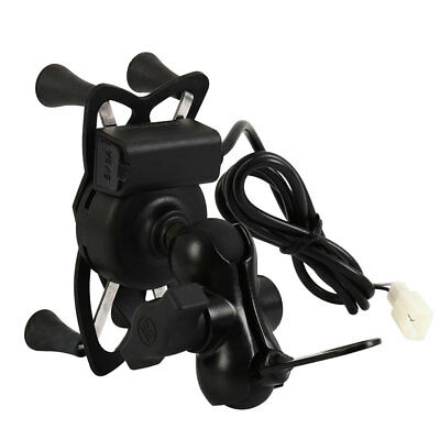 """Universal Motorcycle Cell Phone Handlebar Mount Holder USB Glow Charger 3.5-6"""""""