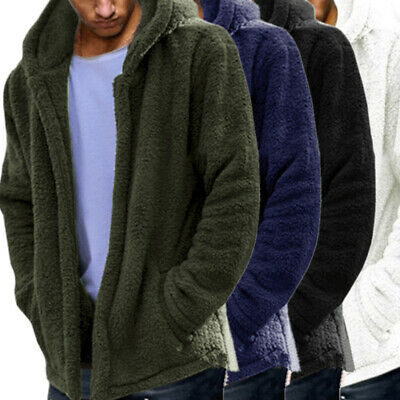 Mens Casual Fluffy Fleece Coat Cardigan Hooded Sweatshirt Hoodie Jackets Outwear
