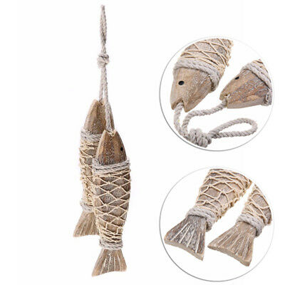 2pcs Wooden Hanging Fish Coastal Village Handicrafts Nautical Home Wall Decors