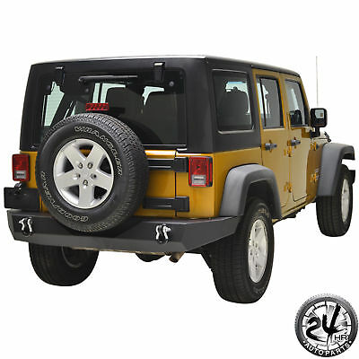 07-18 Jeep Wrangler JK Black Textured Full Width Rear Bumper With D-Rings