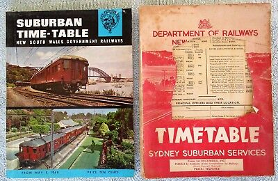 NSWGR Sydney Suburban Services Public Train Timetables - May, 1968 & Dec. 1957