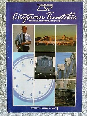 Queensland Railways Rail QR Citytrain Brisbane Suburban Timetable - Oct 1988