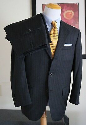 e0350138c7c9c OXXFORD CLOTHES 40R 42R REGULAR ROYAL STRIPES Wool Dark Gray Pinstripe Suit