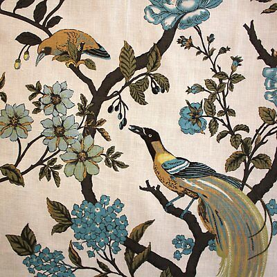 4Yd Gorgeous Vienna Floral Birds Ivory Blue Green Linen Floral Upholstery Fabric