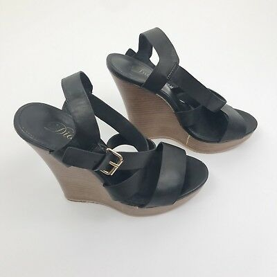 Diavolina Wedges Size 8 Wood and Black Leather Strappy Women's Shoes