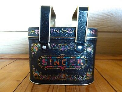 Vintage Collectible Singer Storage Tin by Bristolware with Handles