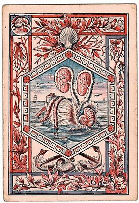 1 SINGLE ANTIQUE Playing Card SQUARE CORNER NAUTILUS ANCHOR CORAL SHELLS #6