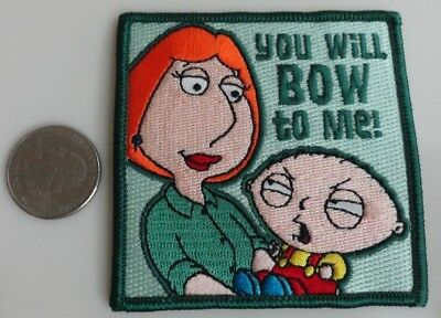 Family Guy Stewie & Lois Bow to Me TV Show Cartoon Iron On Patch New, Rare 2005