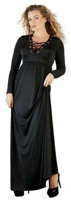 Cottelli Collection Plus Langes Kleid mit Schnürung Kleid 3XL schwarz