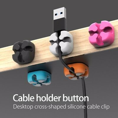 USA SHIPPER  5 PCS Cable Winder Wire Storage Silicon Cable Manager Desk Holder