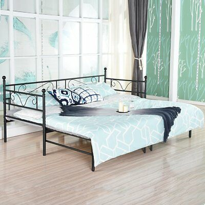 3ft Single Metal Day Bed Guest Bed Frame Sofa With Trundle Pull Out