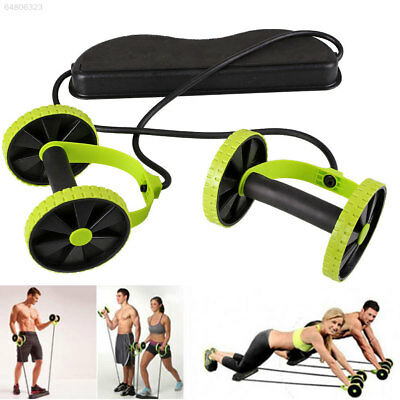 Abdominal Power Roll Trainer Waist Slimming Exerciser Core Double Wheel Fitness^