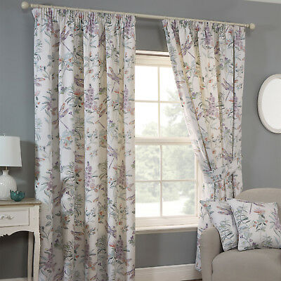 Sundour DRAGONFLY Floral Printed Lined Ready Made Tape Top Pencil Curtains Pair
