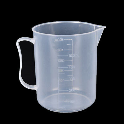 1pc Plastic laboratory water liquid container measuring clear white beaker 500ml