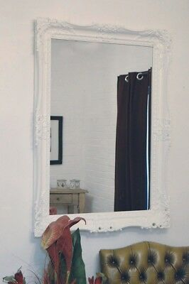 Large Wall Mirror 3Ft7 X 2Ft7 109cm X 78cm Vintage Style White Shabby Chic