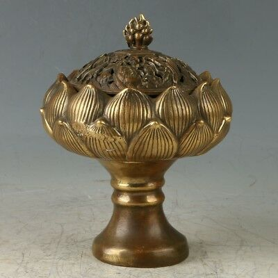 Chinese Brass Hand Carved Lotus Flower Incense Burner W Qianlong  Mark