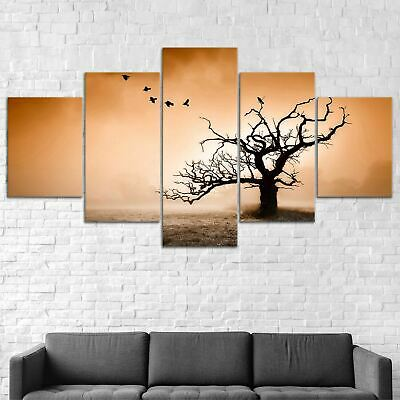 Birds on Dead Tree Canvas Print Painting Framed Home Decor Wall Art Poster 5Pcs