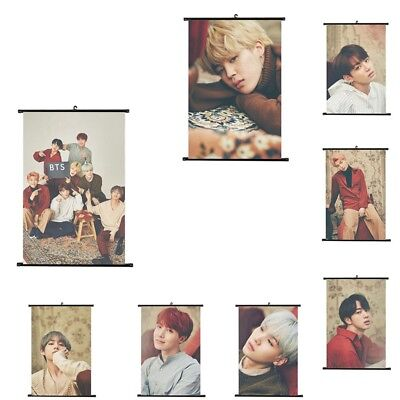 UK Kpop BTS Bangtan Boys Hanging Paintings Art Painting Wall Scroll Poster