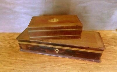 2 vintage antique wooden boxes