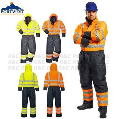 Portwest Thermal Lined Waterproof Winter Hi Vis Coverall Cold Working Suit
