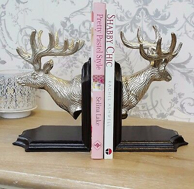 Set Of Two Silver Deer Stag Head Bookends