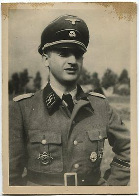 German Wwii Archive Photo: Tankman - Elite Troops Officer, Name On Reverse