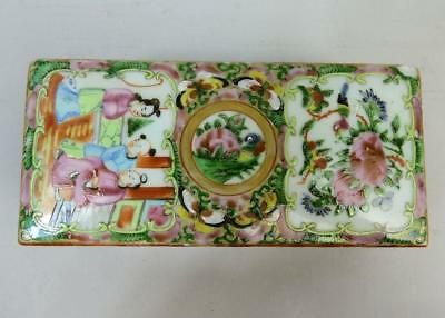 Antique Chinese Famille Rose Porcelain Tooth Brush Box & Cover C.1890