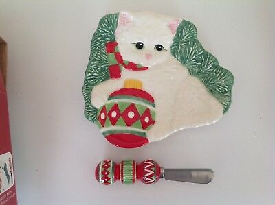 Fitz and Floyd Yuletide Kitten Snack Plate and Spreader NIB