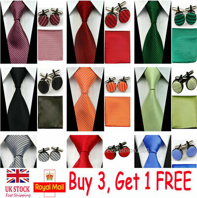 "3"" Mens Wedding Silk Tie Set Cufflinks Handkerchief Neckties Hanky Red Ties Men"