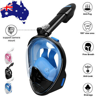 Full Face Snorkeling Snorkel Mask Diving Goggle W/ Breather Pipe Scuba For GoPro