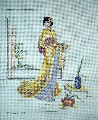 Completed Counted Cross Stitch Unframed Tapestry Picture Oriental Geisha Girl