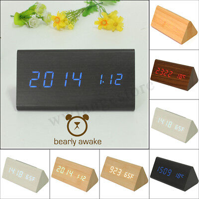 Voice Control Thermometer Time Triangular Wooden Wood Digital Alarm Desk Clock
