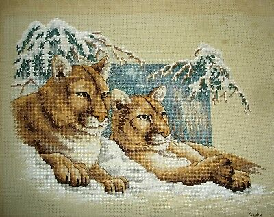 Completed Counted Cross Stitch Unframed Tapestry Picture Lion Cubs