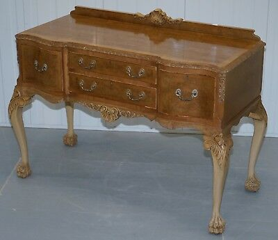 Stunning Burr Walnut Art Deco Sideboard Lion Hairy Paw Feet Cabriolet Legs