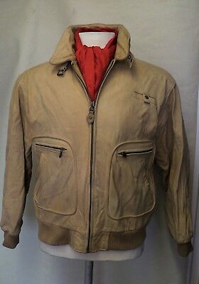 Beige Colour Vintage Leather Bomber Jacket