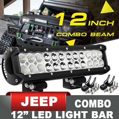 12inch Flood Spot Led Work Light Bar Suv Boat Driving Lamp Offroad 4WD jeep 72W