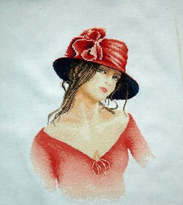 Lanarte Completed Counted Cross Stitch Unframed Linen Picture Lady In Red