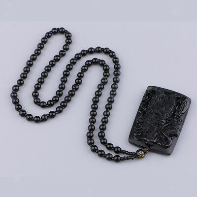 Hand-Carved Black Natural Obsidian Action Figure Necklace Bead Charm Pendant