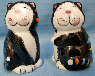 CKAO Salt & Pepper Whimsical Black White Kitty Cats Smiling Color Stripes