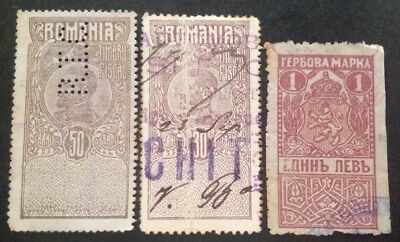 Romania 3 X Early Fiscal Stamps All Used