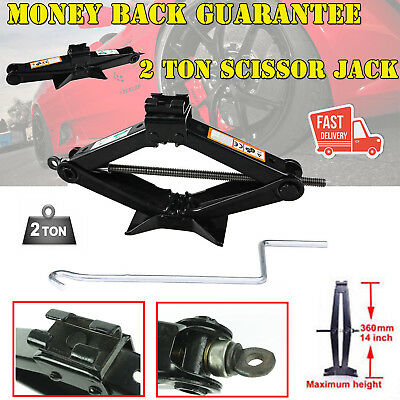 Hi-Q 2T Scissor Wind Up Jack for Car Van Emergency W/ Crank Speed Handle UK Ship