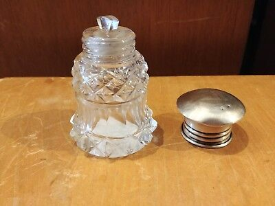 Art Deco STERLING SILVER TOP CUT GLASS PERFUME SCENT BOTTLE