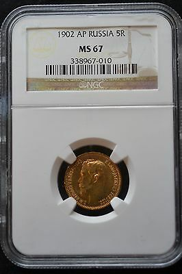 1902 AP Russian Impire Gold Coin 5 Rouble  Ruble NGC MS67 Russia 338967-010