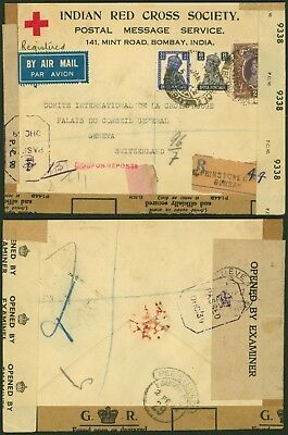 India WWII 1944 Red Cross Registered air mail cover to Switzerland Censor 32086