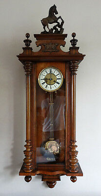 Antique Victorian Vienna Wall Clock by Junghans Germany Striking 8 Day Horse Top