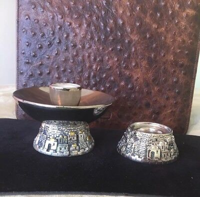 H.Karshi 925 Sterling Silver 2 Items Candle Stick & Base 100.4g Each Scrap