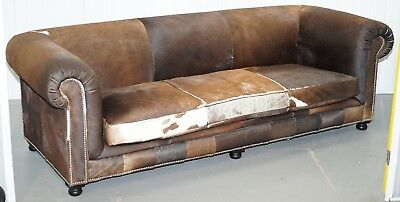 Halo Living Large 3 - 4 Seater Pony Cow Hide Sofa In The Chesterfield Club Manor