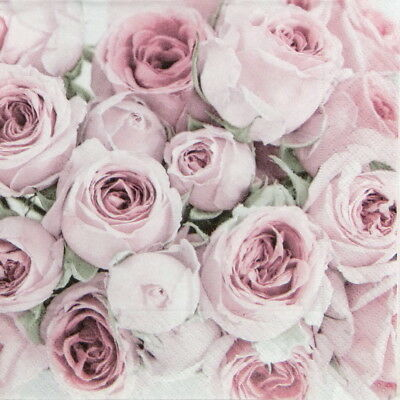 6x Cocktail 25x25cm Paper Napkins for Decoupage Party  Craft Pink Roses Wedding