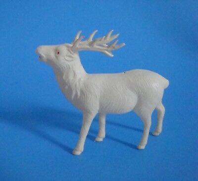Reindeer CELLULOID ornament, free standing, red eyes and mouth
